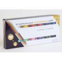 Générique - Kit peinture pour porcelaine 12 pots + pinceau + cerné noir