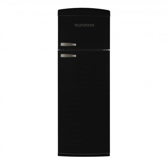Telefunken Tfnvin304BLK Réfrigérateur 2 portes vintage Noir 304L