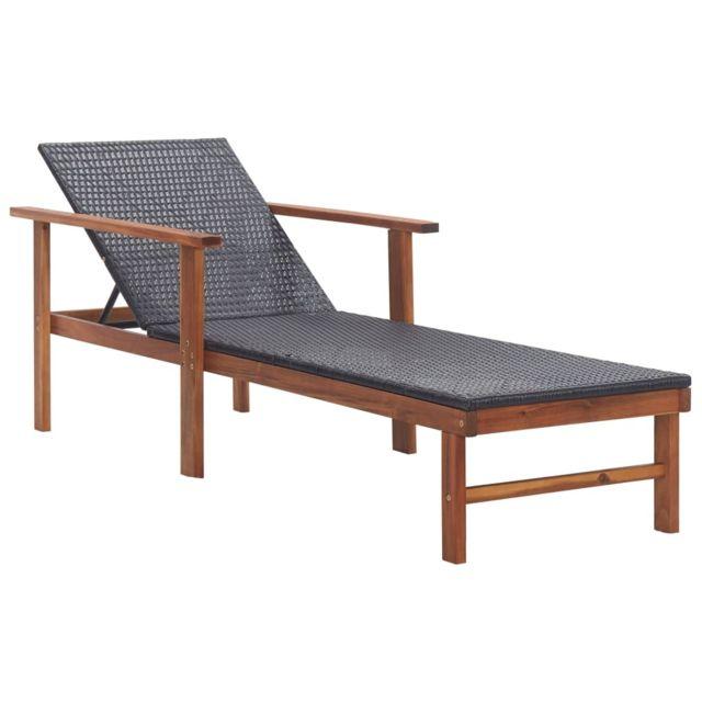 Vidaxl Chaise longue Résine tressée et bois d'acacia massif Noir