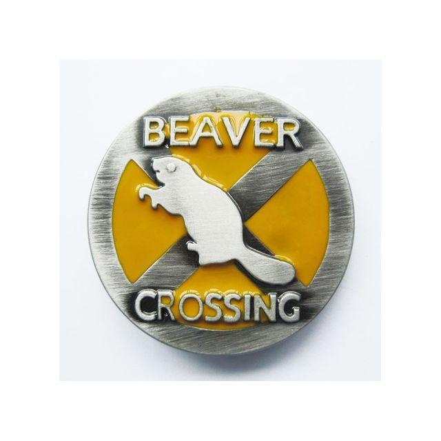 Universel Boucle de ceinture country beaver crossing castor jaune