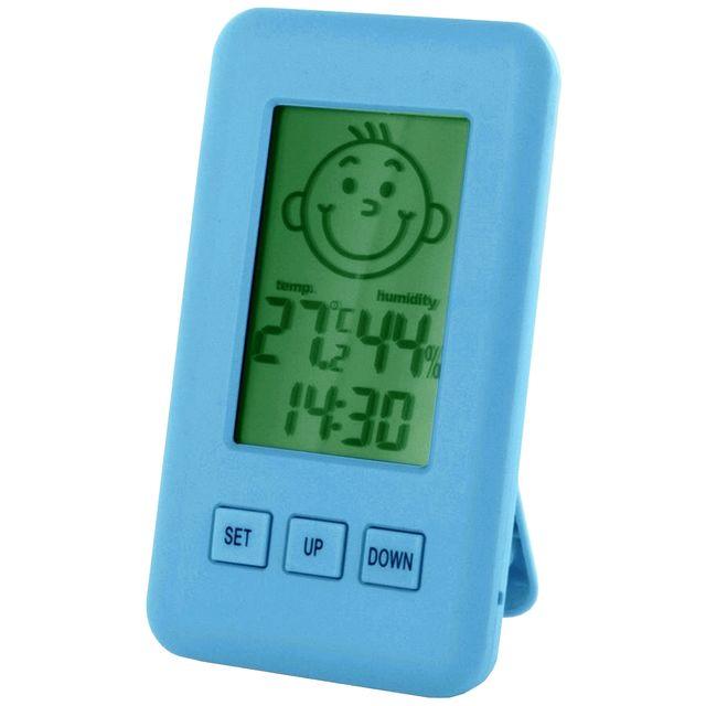 promobo horloge thermometre et hygrom tre d 39 int rieur electronique a poser bleu pas cher. Black Bedroom Furniture Sets. Home Design Ideas