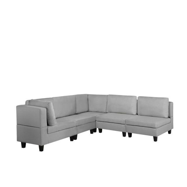BELIANI Canapé angle modulable 5 places en tissu gris clair FEVIK - gris clair