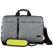 TECHAIR - Sacoche EVO 14 15,6 ' Modulable 3 en 1 , Poches et organiser détachables, Polyester texturé gris, intérieur peluche