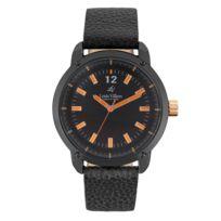 Louis Villiers - Montre Homme Mouvement Quartz Cadran Noir 41mm Et Bracelet Noir En Cuir Lv1091