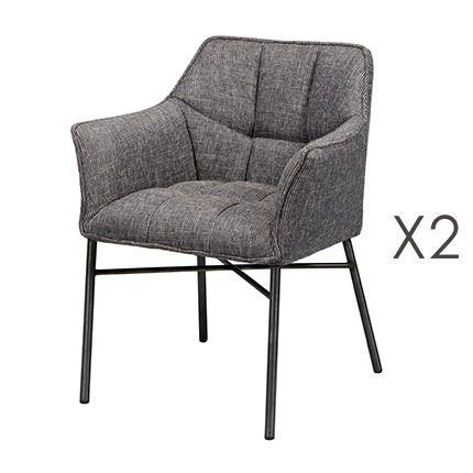 Lot de 2 fauteuils en tweed noir et acier gris brossé