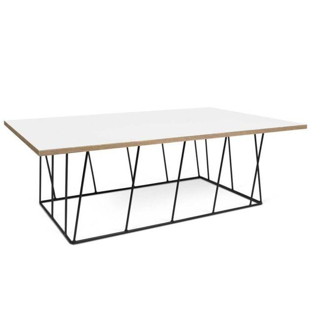 Table basse Helix 120 plateau blanc mat/bois structure laquée noire