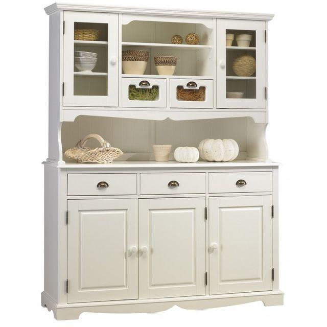 vaisselier blanc pas cher Beaux Meubles Pas Chers - Buffet Vaisselier Blanc 5 Portes 5 Tiroirs de  Style Anglais