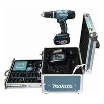 Makita - Perceuse-visseuse a percussion Dhp453RFX2 avec 2 batteries 18V 3Ah Li-ion. mallette en aluminium et 96 accessoires