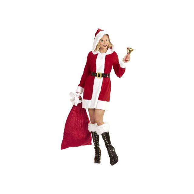 Widman Déguisement Miss Mère Noël Avec Capuche Adulte