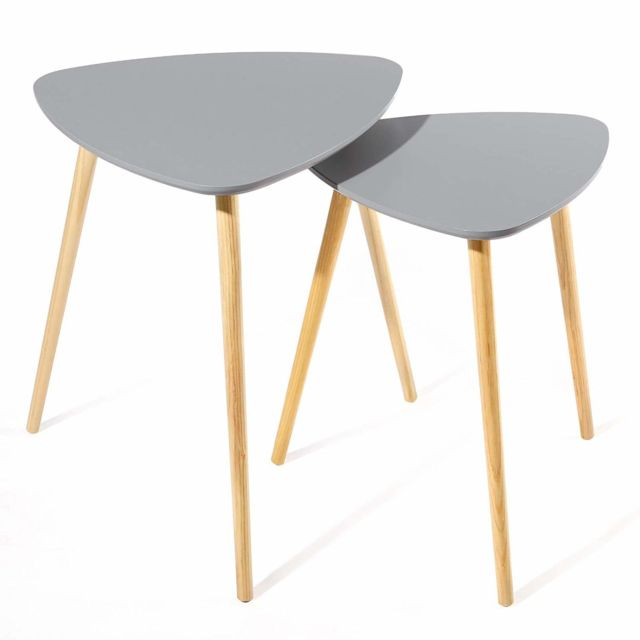 2 tables d\'appoint table basse tables basses scandinaves bois gris Let17GY