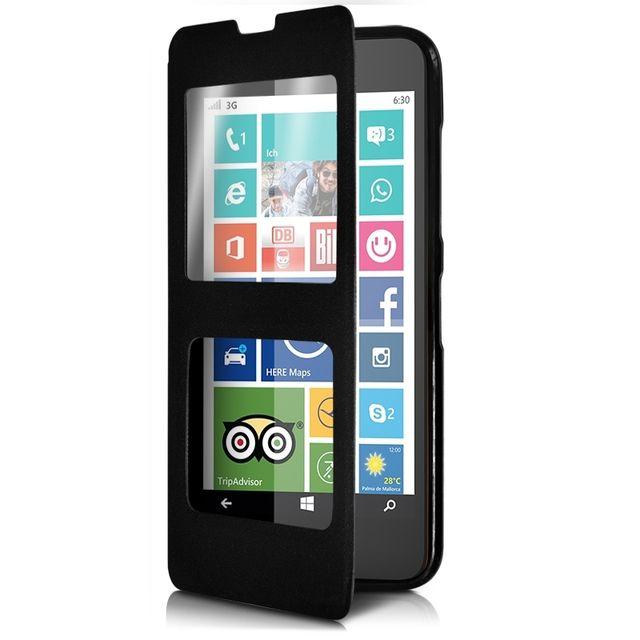 Karylax - Housse Coque Etui S-view Fonction Support Couleur Noir pour Nokia  Lumia 635 d85fae93266