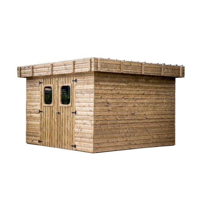 HABRITA Abri THIZY madriers sans plancher, toit plat bac acier 11,53 m²