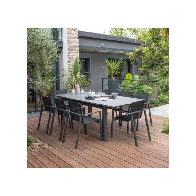 dcb garden salon de jardin miami stone avec rallonge automatique 8 personnes pas cher achat. Black Bedroom Furniture Sets. Home Design Ideas