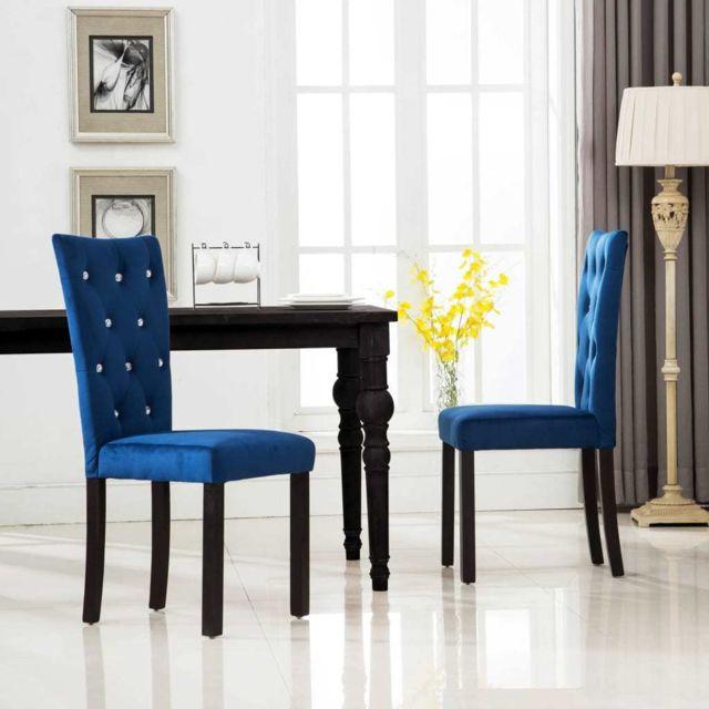 Chaise de salle à manger 2 pcs Velours Bleu foncé MeublesFauteuilsChaises de cuisine et de salle à manger | Bleu | Bleu