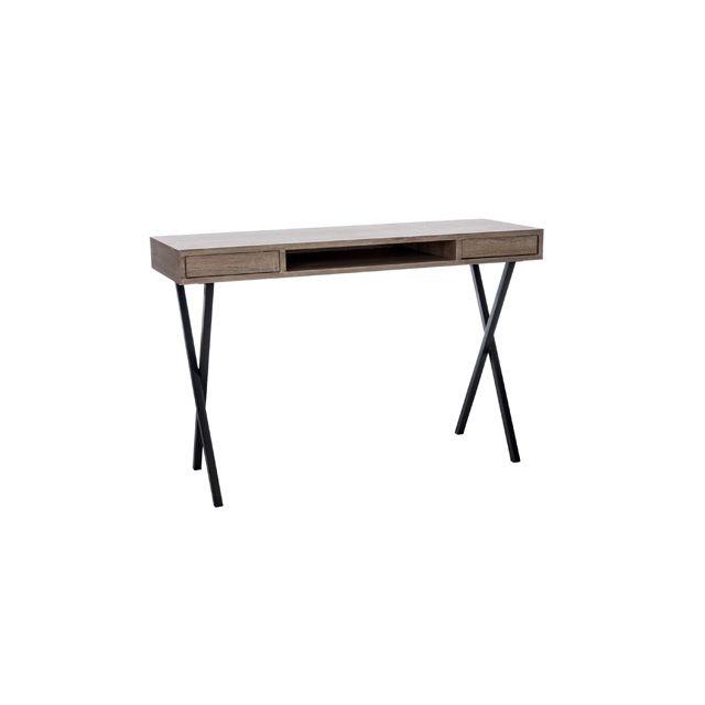 Bureau 2 tiroirs pieds croix bois naturel-métal noir 120x40x77cm