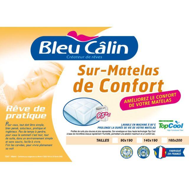 Bleu Calin Surmatelas a Bouillir 90x190 400gr/m2 Fabrication Francaise
