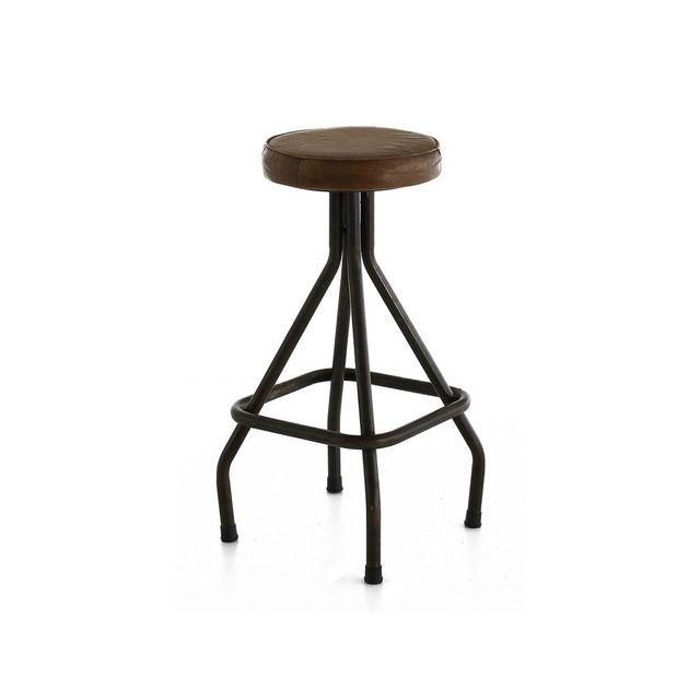 magasin en ligne b311a 74a71 Tabouret de bar en cuir et métal avec repose-pieds carré Hauteur 70 cm  Montecristo