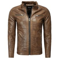 FREESIDE - Veste fashion cuir homme Veste 1002 marron