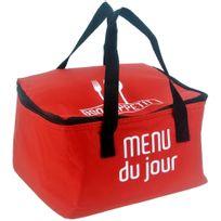 Promobo - Lunch Bag Sac Panier Repas Fraicheur Isotherme Menu Du Jour Rouge