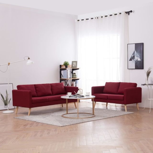Vidaxl Ensemble de canapé 2 pcs Tissu Rouge bordeaux