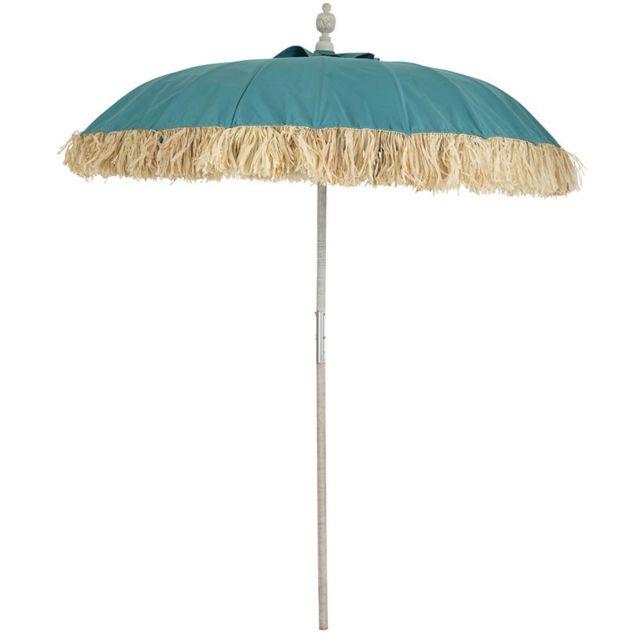 Tousmesmeubles Parasol Tissu bleu/Bambou naturel - Hotot