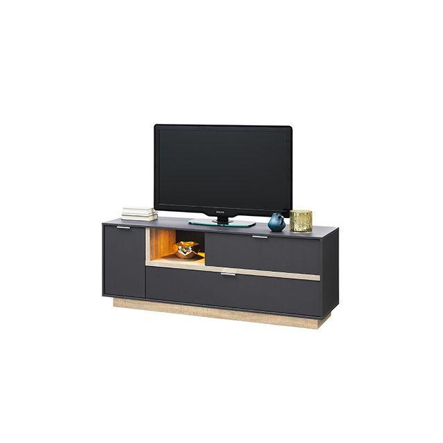 Meuble Tv 157x59x43cm anthracite et bois naturel