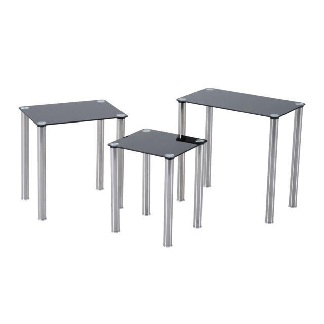 HOMCOM Lot de 3 tables gigognes design contemporain plateau verre trempé rectangulaire noir pieds chromés neuf 86BK