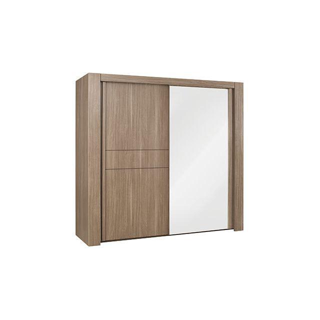 Armoire 2 portes coulissantes miroir l250cm d cor ch ne for Armoire portes coulissantes miroir
