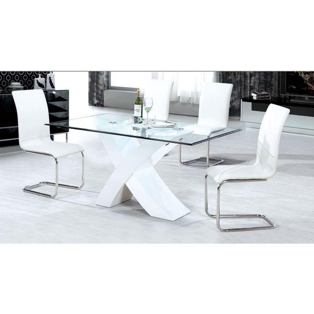 HABITAT ET JARDIN Table repas Mona - 150 x 90 x 75 cm - Blanc