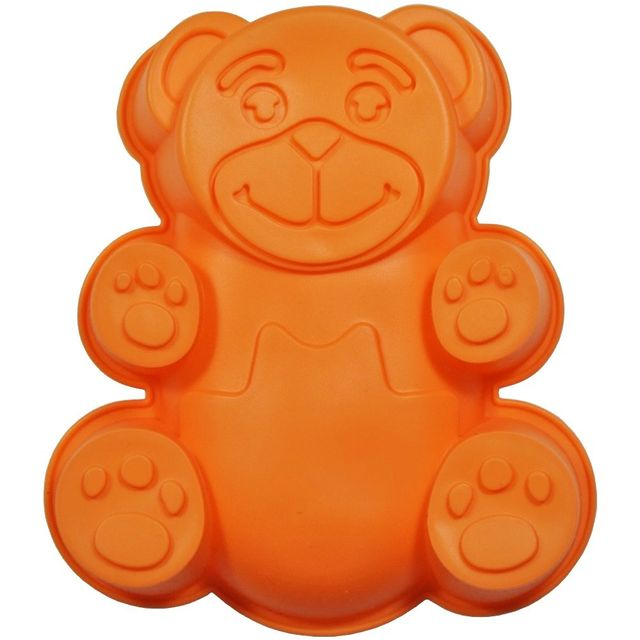 Promobo Moule à Gateau en silicone Ourson Forme Ludique Animal Orange