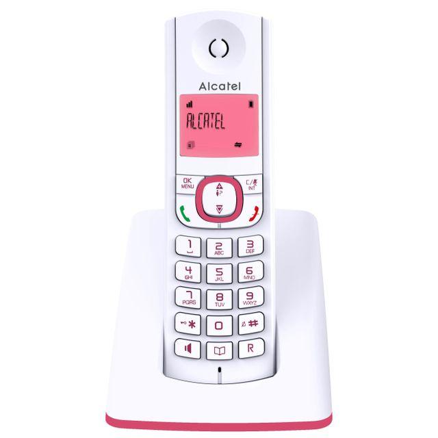 ALCATEL téléphone sans fil dect blanc/rose - f530rose alcatel - téléphone sans fil dect blanc/rose - f530rose Téléphone sans fil Alcatel F530ROSE avec confort visuel d'un grand écran rétro éclairé. Fonction mains-libres pour partager agréablement vos conv