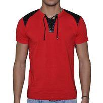 Doger Wear - T Shirt Manches Courtes - Homme - Sd 80 Col Double à Lacets - Rouge