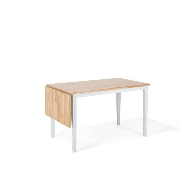 BELIANI Table à manger en bois d'hévéa avec rallonge LOUISIANA - blanc