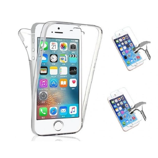 coque silicone integrale film verre trempe pour iphone 5c