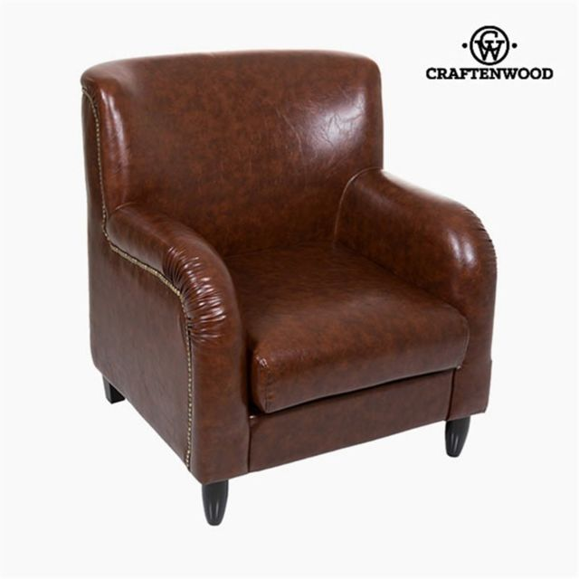 Craftenwood Fauteuil Cuir synthétique Marron - Collection Relax Retro by