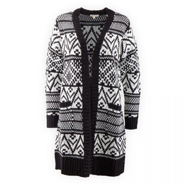 b6aa39358e0 Best Mountain - Cardigan imprimé noir et blanc femme - pas cher Achat   Vente  Gilet femme - RueDuCommerce