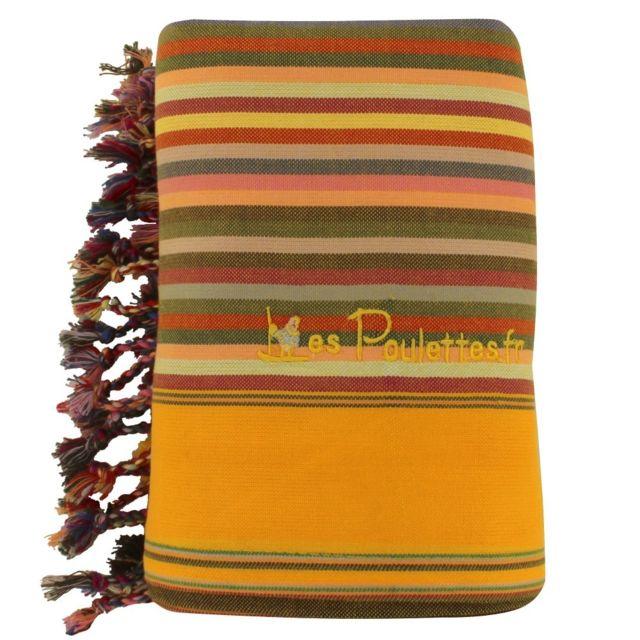 les poulettes bijoux kikoy serviette plage coton couleur ray jaune orange orange 93cm x. Black Bedroom Furniture Sets. Home Design Ideas