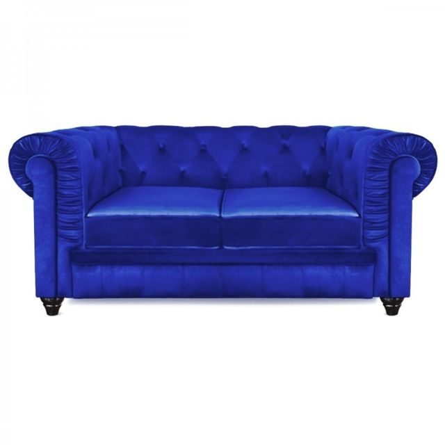 Meubler Design Canapé 2 places design Chesterfield bleu velours