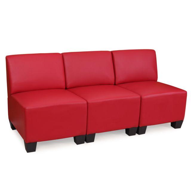 Mendler Canapé modulaire à 3 places Lyon, similicuir ~ rouge, sans accoudoirs