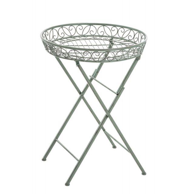 Decoshop26 - Table de jardin plateau en fer forgé pliable diamètre Ø ...