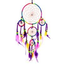Lanitta - Attrape-rêve arc-en-ciel, multicouleur, 05 anneaux en métal avec véritables plumes et perles