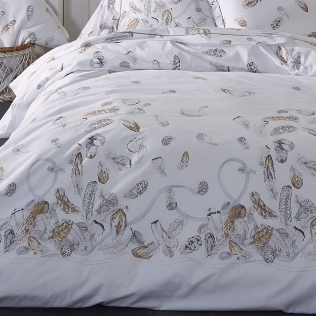 linnea housse de couette 280x240 cm percale pur coton plumes pas cher achat vente housses. Black Bedroom Furniture Sets. Home Design Ideas