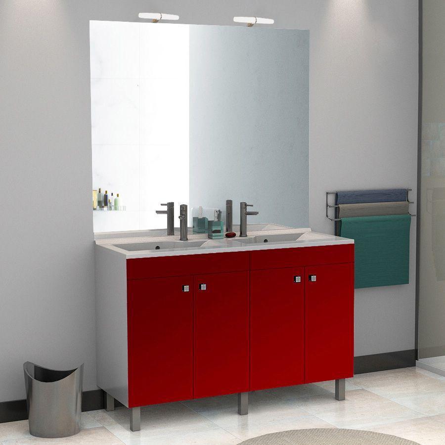 Meuble salle de bain ÉCOLINE 120 double vasque résine - Rouge brillant