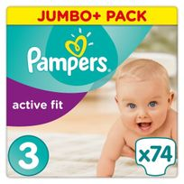 PAMPERS - Active Fit - Couches Taille 3 Midi, 5-9kg - 74 couches
