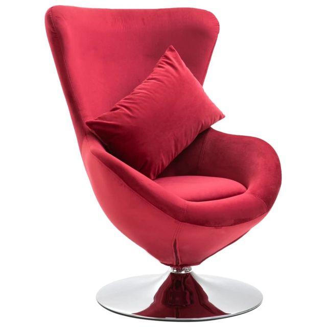 Icaverne Fauteuils club, fauteuils inclinables & chauffeuses lits serie Fauteuil pivotant en forme d'œuf avec coussin Rouge Velours