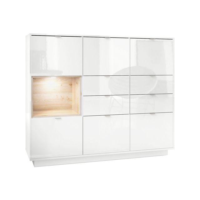 Mpc Buffet design laqué blanc avec insertion aspect chêne nordique