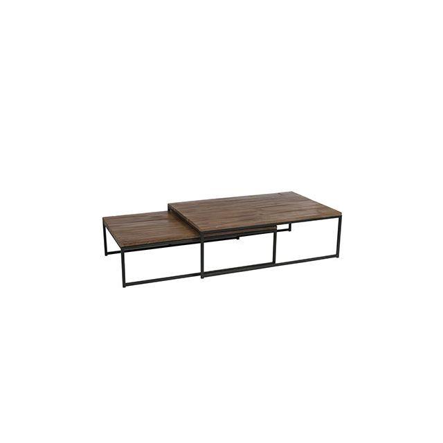 Set de 2 tables basses 120x80x38cm en métal et bois naturel