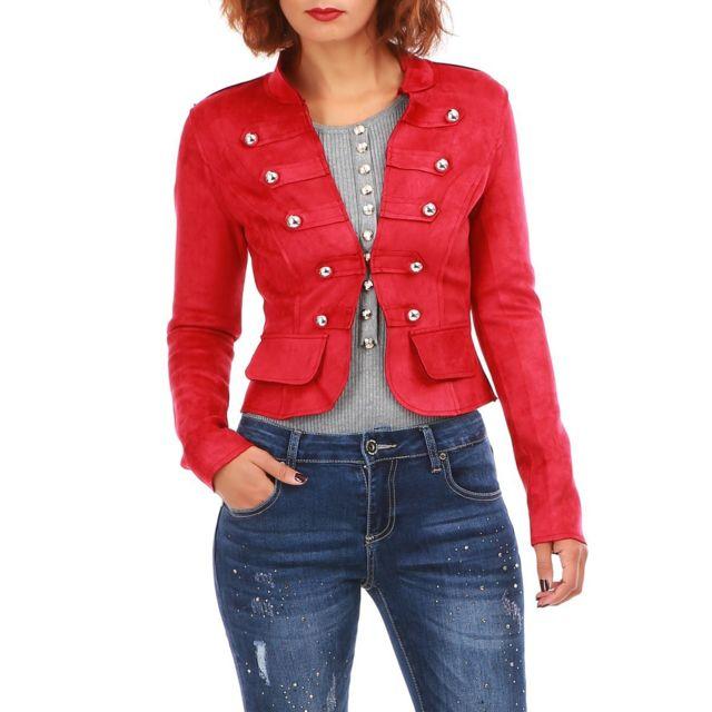 Lamodeuse - Veste rouge courte style officier - pas cher Achat   Vente  Blouson femme - RueDuCommerce 9abd2f1a848