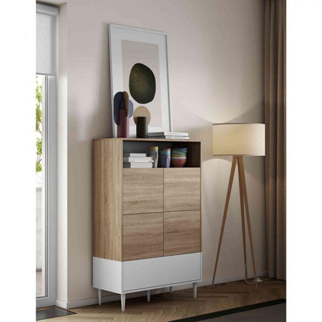 TERRE DE NUIT Commode en bois blanc avec placard et niche de rangement - CO6001