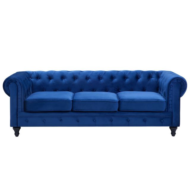 BELIANI Canapé 3 places bleu cobalt CHESTERFIELD